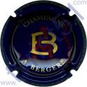 BERGERE A : fond bleu foncé initiales or et rouge