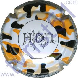 DAVID-HEUCQ Henri : fond blanc tacheté orange